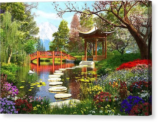 Temple Canvas Print - Gardens Of Fuji by Dominic Davison