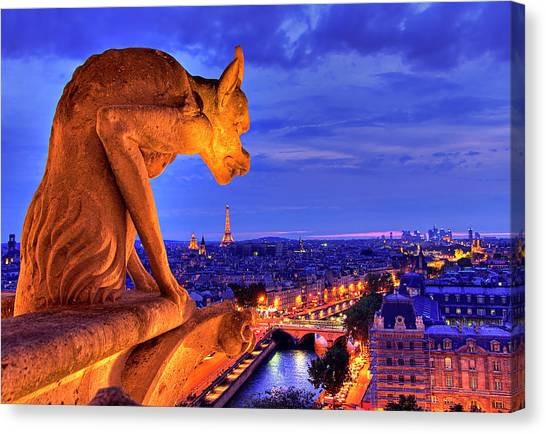 City Sunsets Canvas Print - Gargoyle De Paris by Traumlichtfabrik