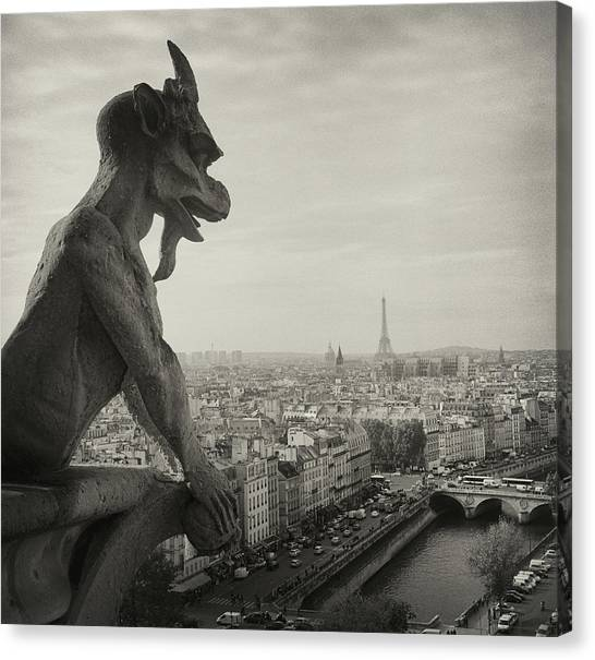 Cities Canvas Print - Gargoyle Of Notre Dame by Zeb Andrews