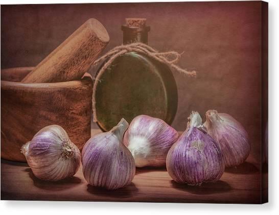 Mortar Canvas Print - Garlic Bulbs by Tom Mc Nemar