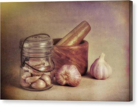 Mortar Canvas Print - Garlic In A Jar by Tom Mc Nemar