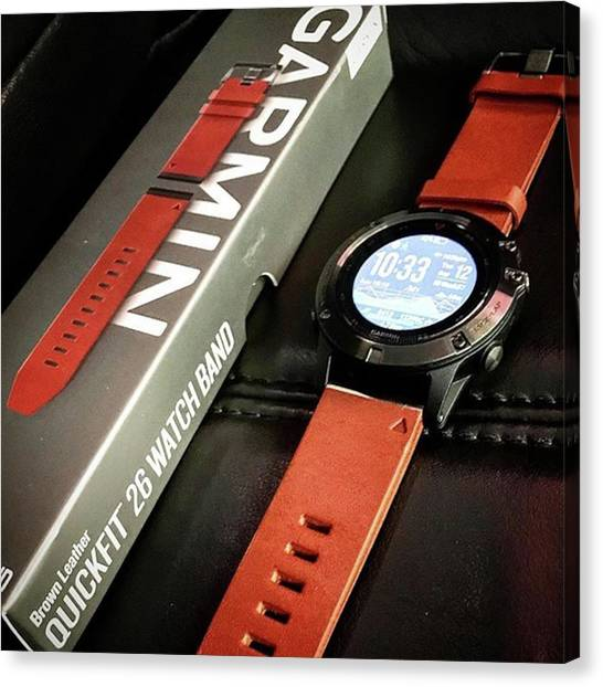 Garmin Brown Leather Quick-fit 26 Watch Canvas Print by Arya Swadharma