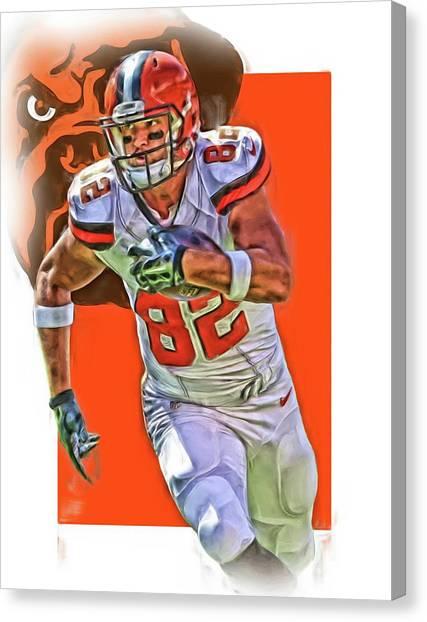 Kansas City Chiefs Canvas Print - Gary Barnidge Cleveland Browns Oil Art by Joe Hamilton