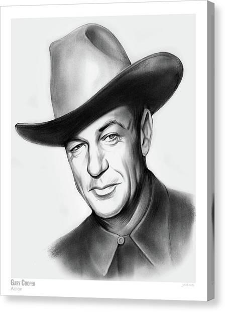 Cowboy Canvas Print - Gary Cooper by Greg Joens