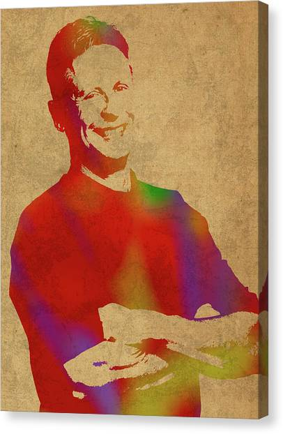 Libertarian Canvas Print - Gary Johnson Libertarian Politician Watercolor Portrait by Design Turnpike
