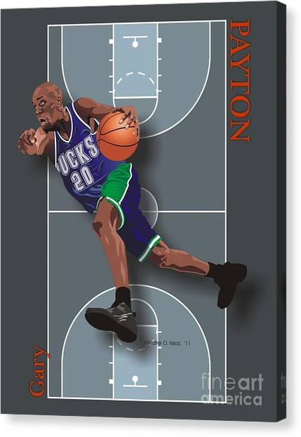 Gary Payton Canvas Print by Walter Oliver Neal