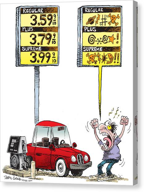 Canvas Print featuring the drawing Gas Price Curse by Daryl Cagle