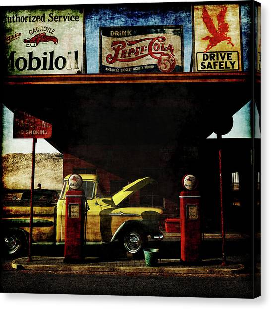 Oldtimers Canvas Print - Gas Station No3 by Jan Keteleer