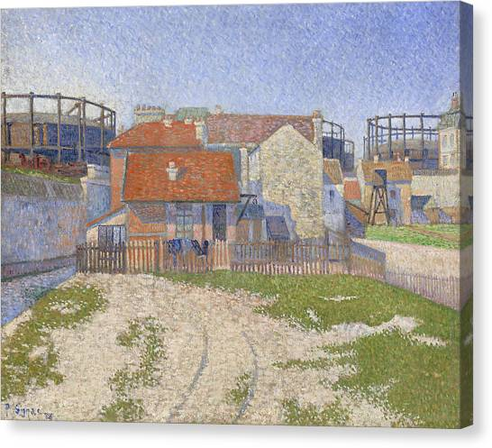 Divisionism Canvas Print - Gasometers At Clichy by Paul Signac
