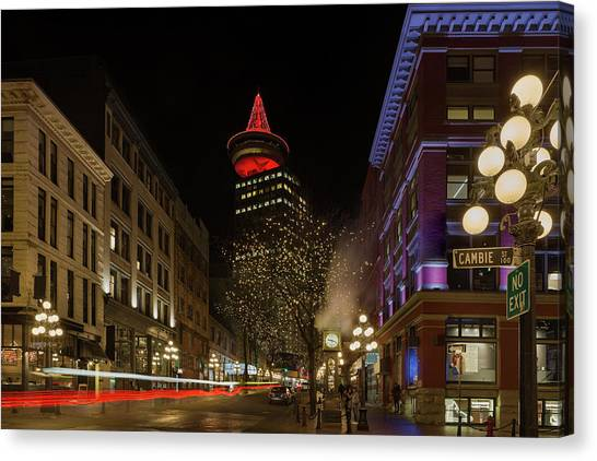 Canvas Print - Gastown In Vancouver Bc At Night by David Gn