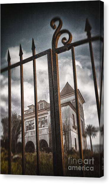 Old Houses Canvas Print - Gate To Haunted House by Carlos Caetano