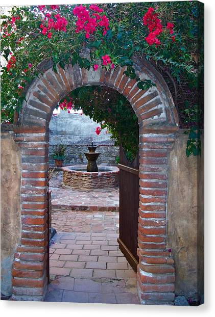 Gate To The Sacred Garden And Bell Wall Mission San Juan Capistrano California Canvas Print