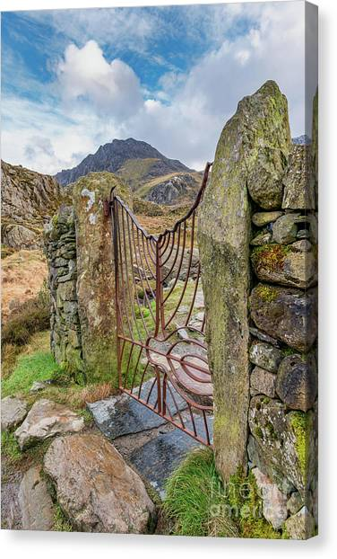 Tryfan Mountain Canvas Print - Gate To Tryfan Snowdonia by Adrian Evans