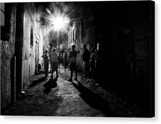 Gathering In A Wilmington Alley In Black And White Canvas Print