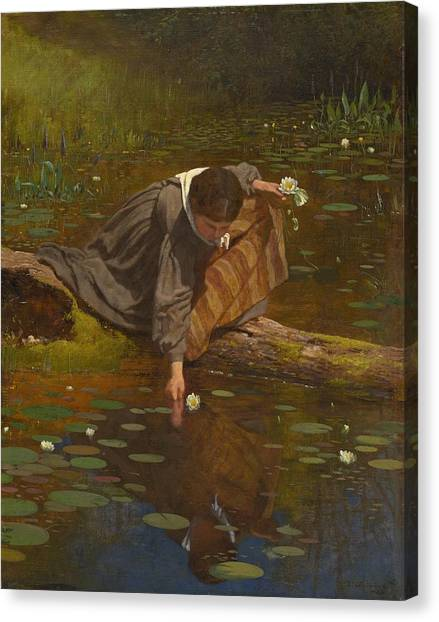 Canvas Print - Gathering Lilies by Eastman Johnson