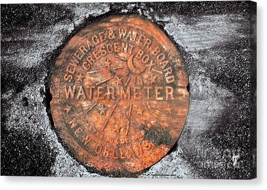 New Orleans Water Meter Cover 9 Months After Katrina Canvas Print by Pringle Teetor