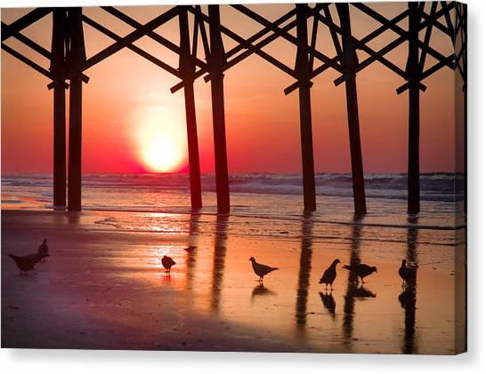 Beach Sunrises Canvas Print - Gathering The Morning Light by Karen Wiles
