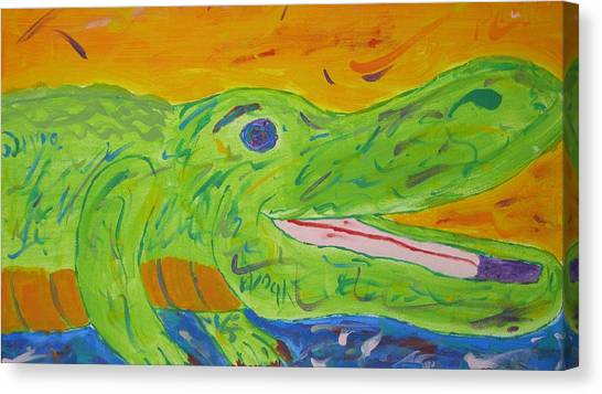 Gator In Bloom Canvas Print
