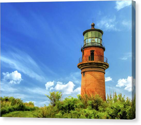 Canvas Print featuring the painting Gay Head Lighthouse by Christopher Arndt