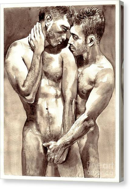 Kiss Canvas Print - Gay Love Watercolor by Suzann's Art