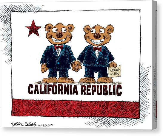Canvas Print featuring the drawing Gay Marriage In California by Daryl Cagle