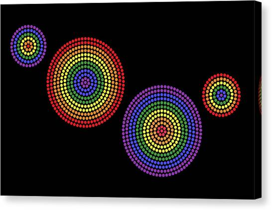 Rainbow Six Canvas Print - Gay Radial Dot Patterns On Black Background by Peter Hermes Furian