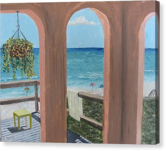 Gazebo At Blue Mountain Beach Canvas Print by John Terry