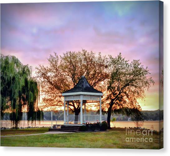 Gazebo Sunrise At Claytor Lake Canvas Print