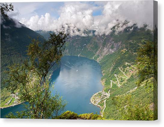 Geirangerfjord With Birch Canvas Print