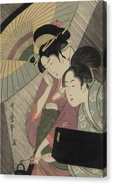 Japanese Umbrella Canvas Print - Geisha And Attendant On A Rainy Night by Kitagawa Utamaro