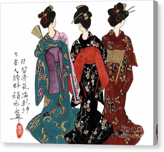Geisha - Back View Canvas Print by Linda Smith