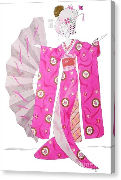 Geisha Barbie -- Whimsical Geisha Girl Drawing Canvas Print