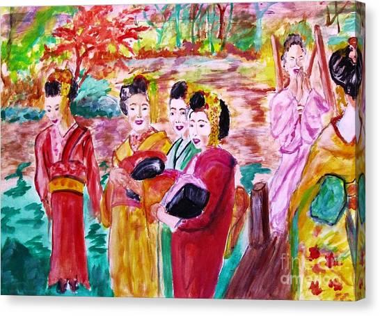 Geisha Girl Friends Canvas Print