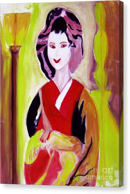 Geisha Girl Portrait Painted With Picasso Style Canvas Print