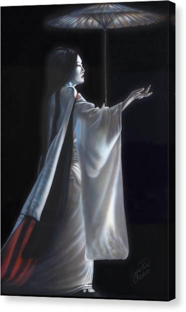 Japanese Umbrella Canvas Print - Geisha II by Wayne Pruse