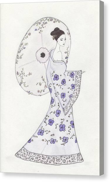 Geisha In Bloom Canvas Print by Christine Corretti