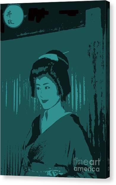 Geisha In Blue Canvas Print by Louise Fahy