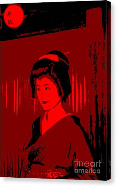 Geisha In Red Canvas Print by Louise Fahy