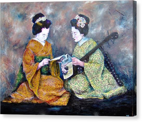Geisha Music Lesson Canvas Print