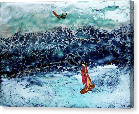 Geisha Surfing  Canvas Print by Andy  Mercer