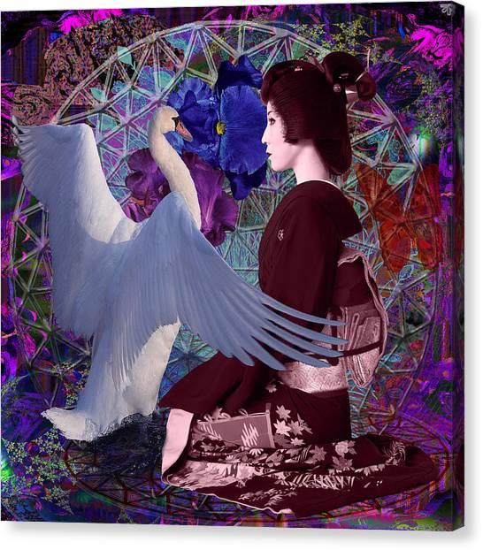 Geisha Swan Dance Canvas Print