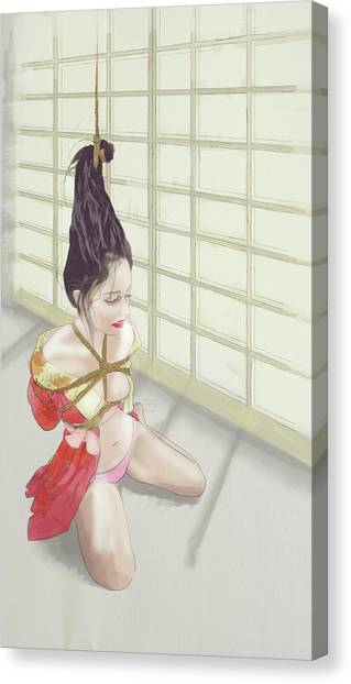 Canvas Print featuring the mixed media Geisha by TortureLord Art