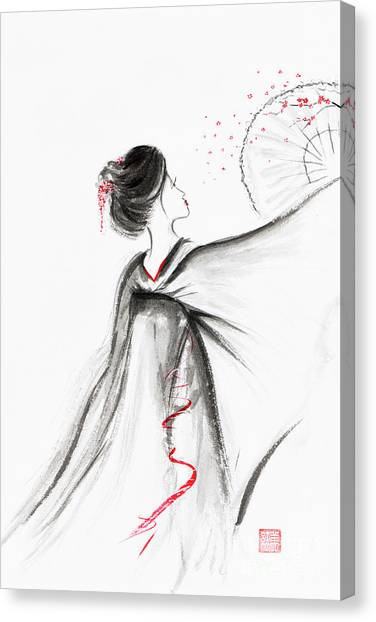 Simplistic Canvas Print - Geisha With A Fan Depicting A Blossoming Sakura Branch Japanese  by Awen Fine Art Prints
