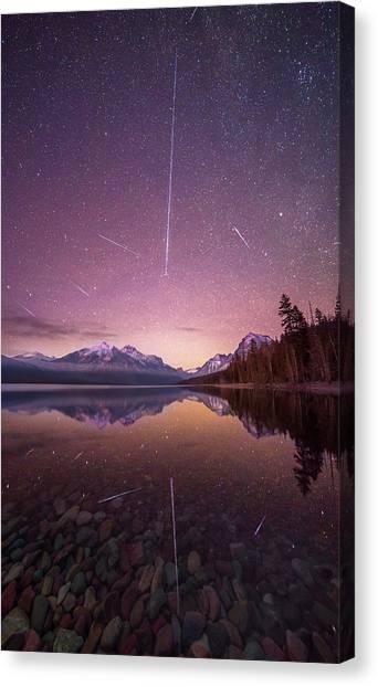 Canvas Print featuring the photograph Geminid Meteor Storm // December 13th, 2017 // Lake Mcdonald, Glacier National Park by Nicholas Parker