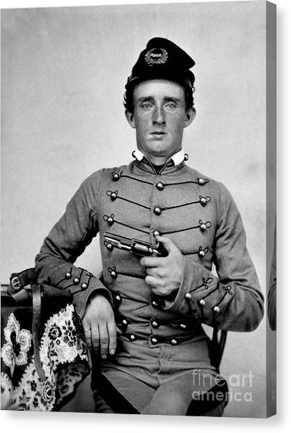 Confederate Army Canvas Print - General Custer At West Point Ca 1859 by Jon Neidert