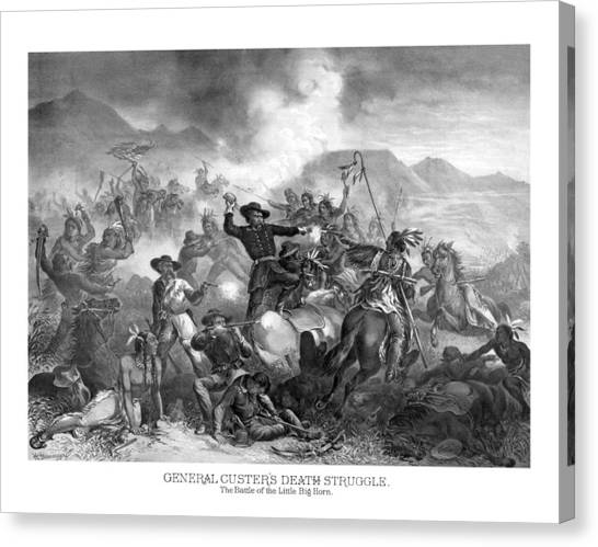 Last Canvas Print - General Custer's Death Struggle  by War Is Hell Store