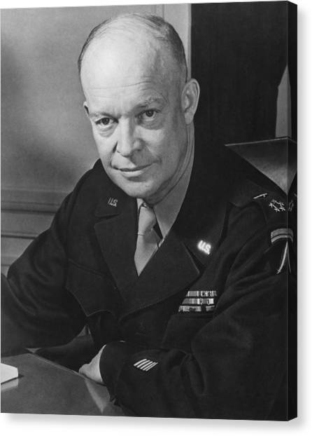 Army Canvas Print - General Dwight Eisenhower by War Is Hell Store