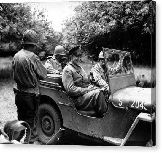 Jeep Canvas Print - General Eisenhower In A Jeep by War Is Hell Store