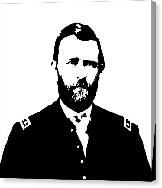 U. S. Presidents Canvas Print - General Grant Black And White  by War Is Hell Store