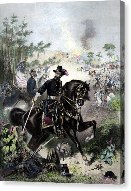 War Horse Canvas Print - General Grant During Battle by War Is Hell Store